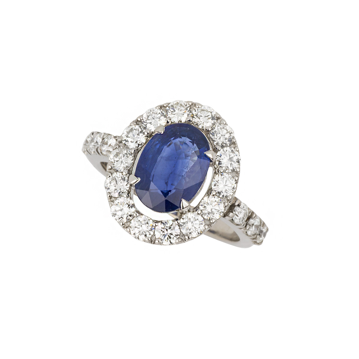 18k White Gold Sapphire and Diamond Dress Ring